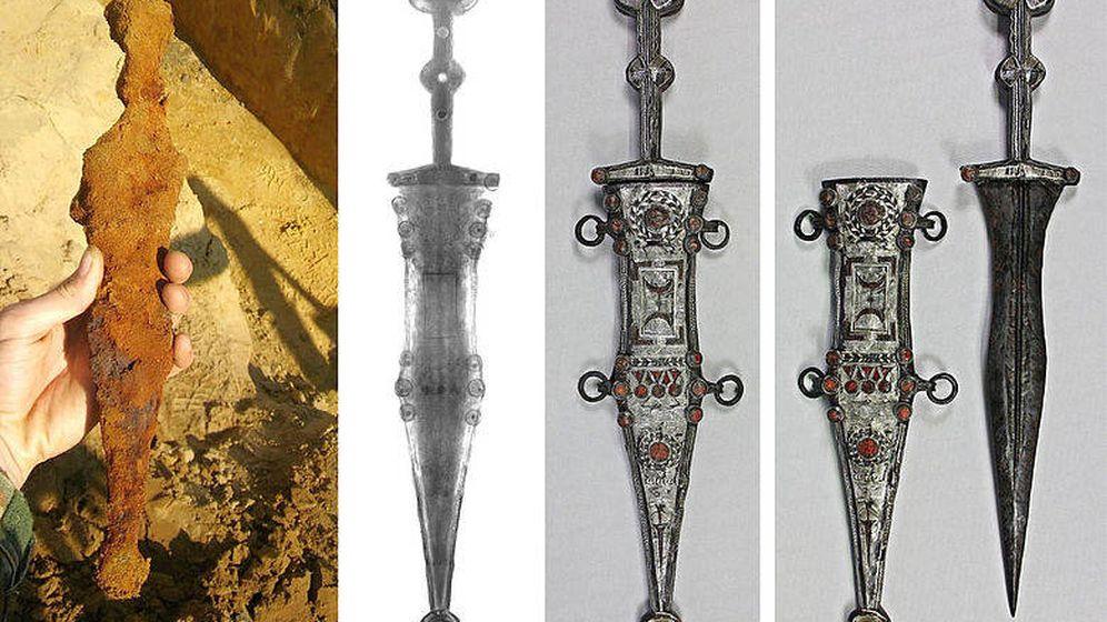 Foto: El proceso de restauración de la daga. (Josef Mühlenbrock / LWL)