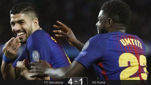 El robótico Barça aplasta a la Roma entre globos amarillos y banderas de 'llibertat'