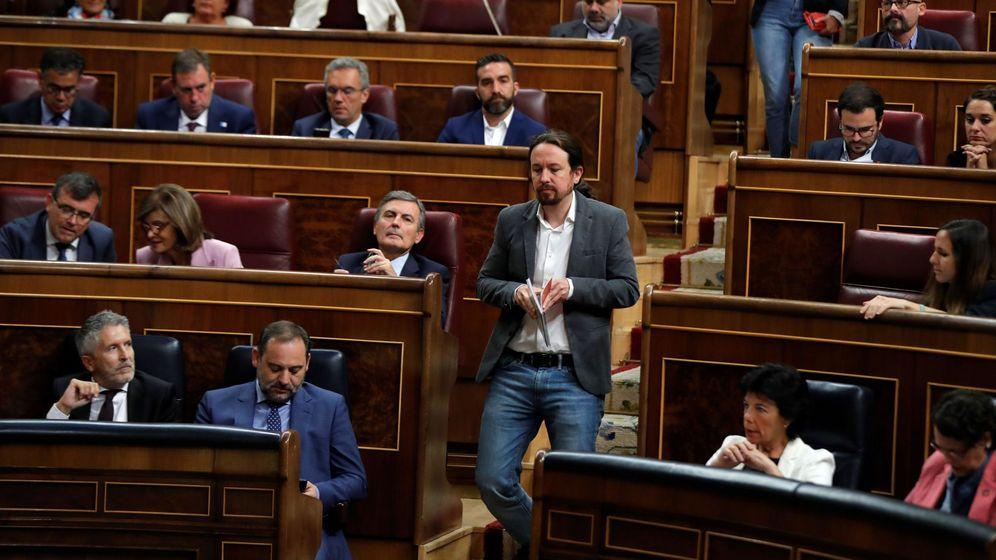 Foto: El líder de Unidas Podemos, Pablo Iglesias, momentos antes de comparecer en el último pleno del Congreso. (EFE)