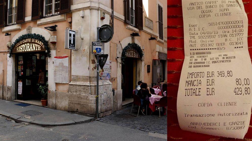 Foto: El Antico Caffe di Marte y la prueba de la factura que pagaron las turistas japonesas (Foto: Tripadvisor/Facebook)