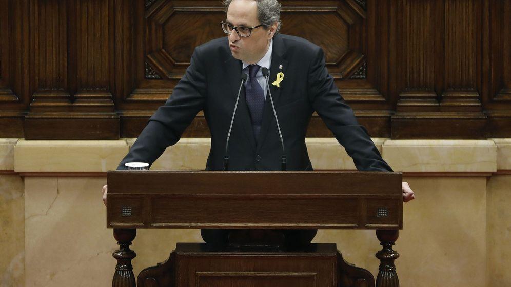 Foto: El presidente de la Generalitat, Quim Torra, durante el pleno del Parlament de este miércoles. (Efe)