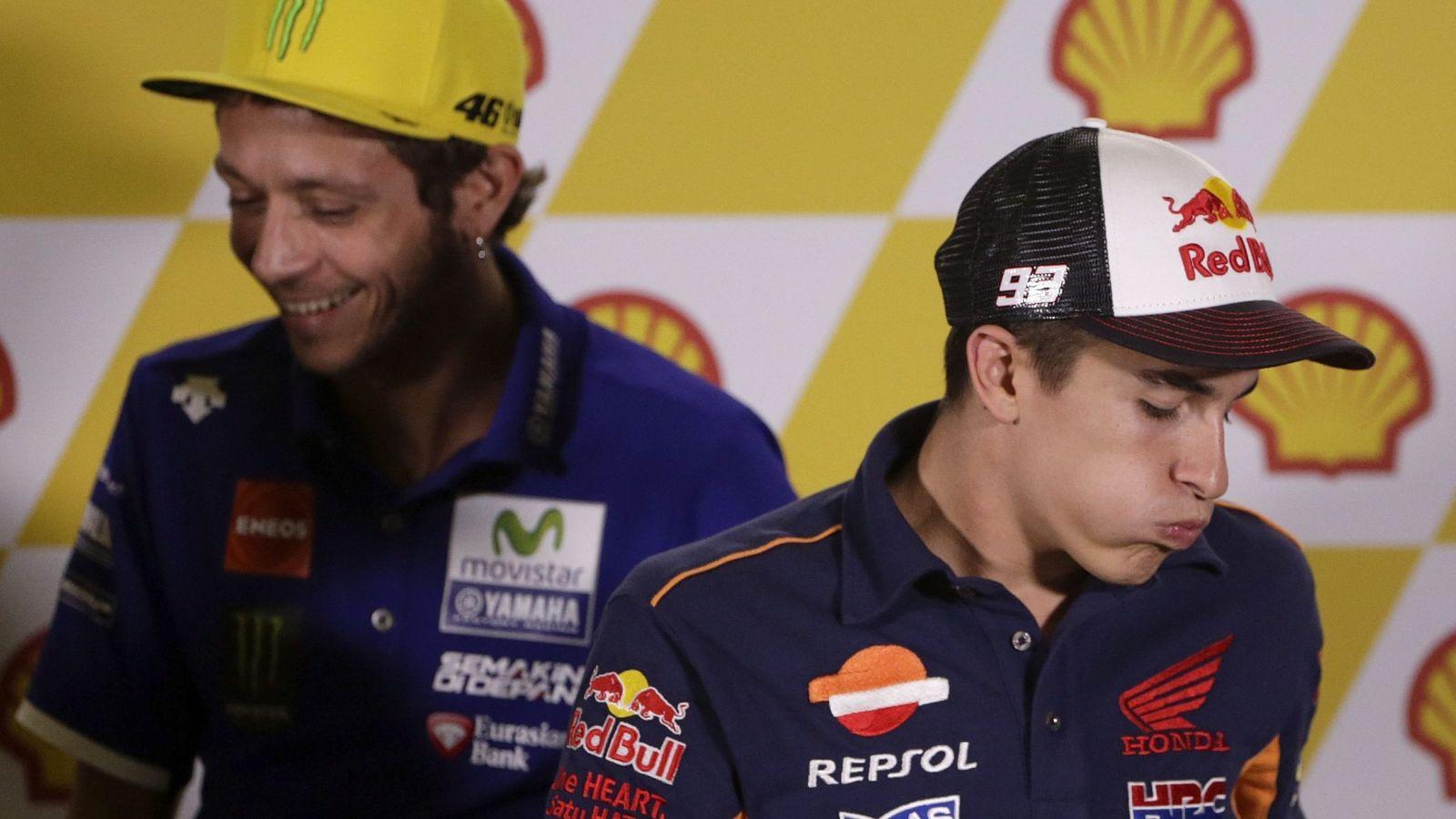 Foto: Rossi y Márquez en una rueda de prensa en 2016. (EFE)