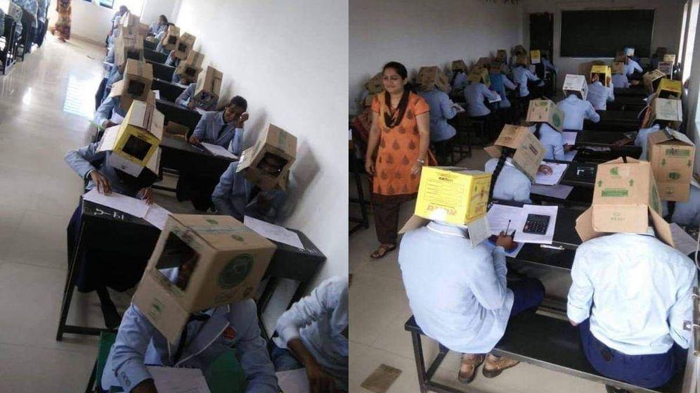 Foto: Algunos alumnos decidieron no ponerse las cajas, pero fueron los menos (Foto: Twitter)