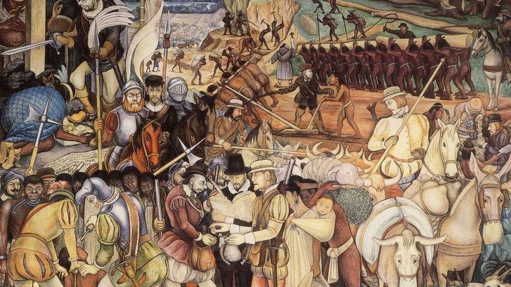 Foto: La conquista de la nación azteca. (Diego Rivera)