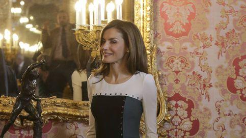 Doña Letizia luce un vestido con poco 'arte' en el almuerzo del Cervantes