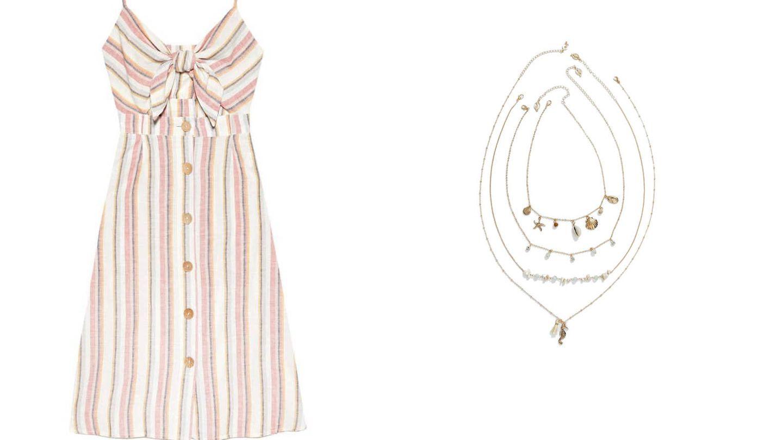 Silueta del vestido Stradivarius (25,99 €) y silueta collar conchas (7,99 €).