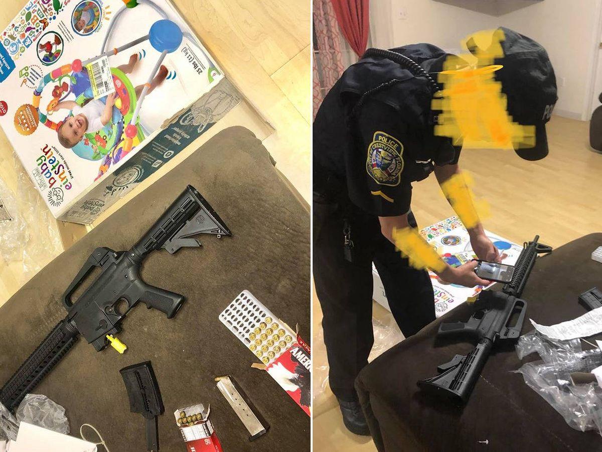 Foto: Encontraron un rifle en el interior de la caja donde debería haber un andador para bebés (Foto: Facebook)
