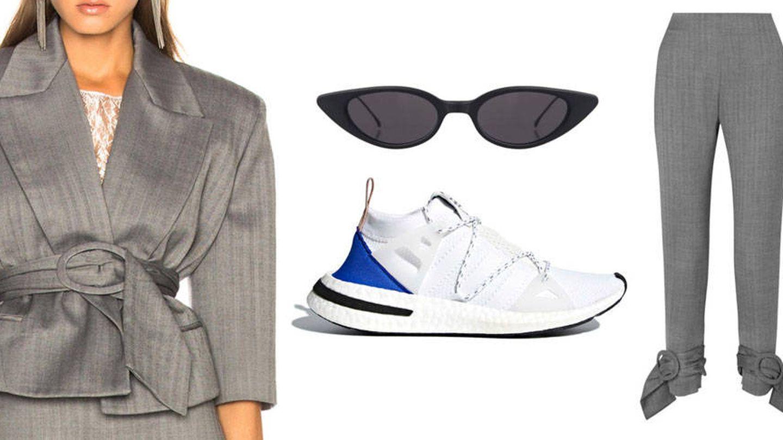 Conjunto de chaqueta y pantalón de Carmen March, zapatillas de Adidas y gafas de Illesteva.