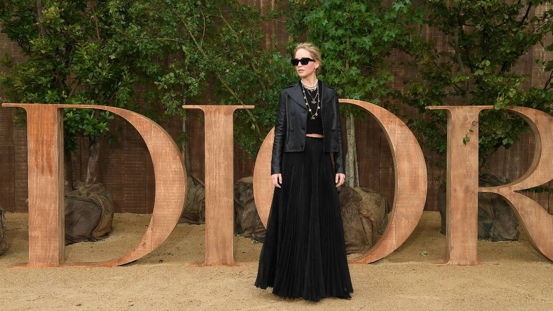 Jennifer Lawrence, en un desfile de Dior en París. (Getty)