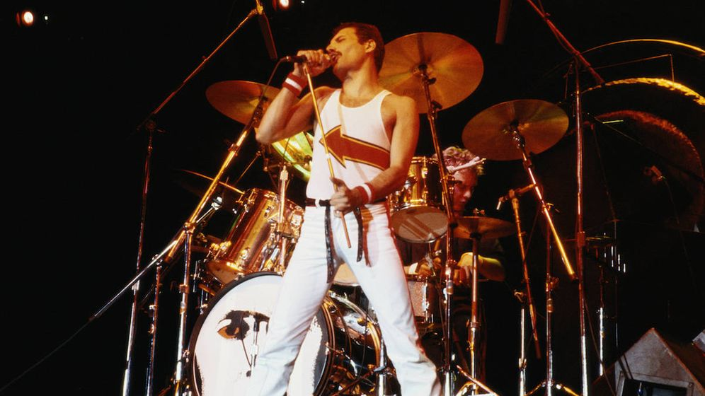 Foto: Freddie Mercury, durante un concierto de Queen en 1982 (Getty Images)