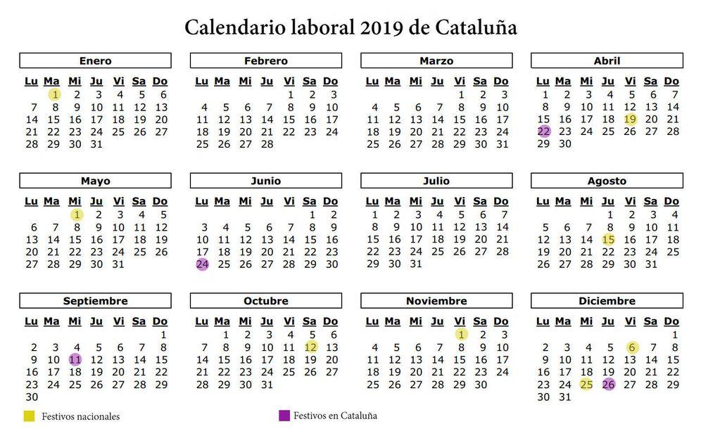 Calendario laboral 2019 de catalu a los 12 festivos y for Calendario eventos madrid