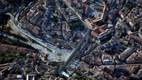 Vista de Segovia desde un globo aerostáticos