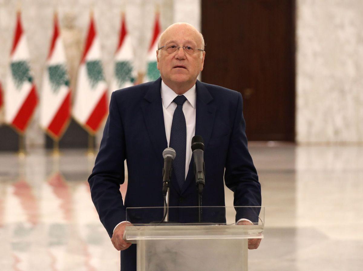 Foto: El nuevo primer ministro designado de Líbano, Najib Mikati, habla en el palacio presidencial de Baabda, Líbano. (Reuters)