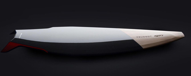 Foto: Tabla de surf elaborada en madera y fibra de carbono de Peugeot Design Lab