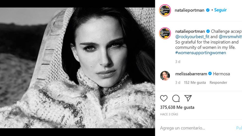 Foto: Natalie Portman es uno de los rostros famosos que ha participado en el reto #WomenSupportingWomen (Foto: Instagram)