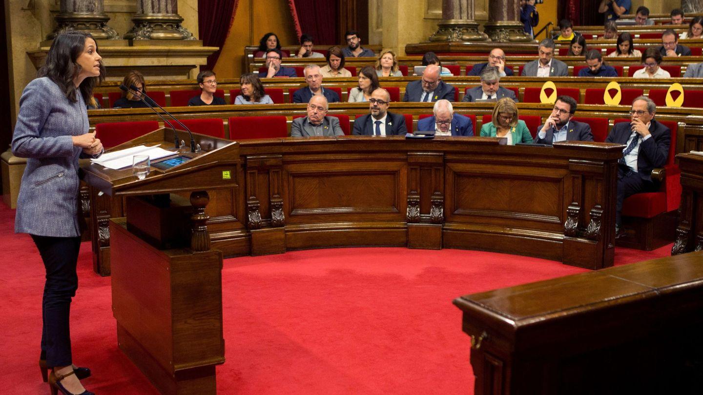 La líder de Ciutadans, lnés Arrimadas, durante su intervención en el pleno del Parlament. (EFE)