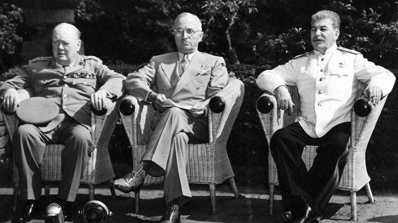 Churchil, Truman y Stalin en Potsdam en 1945.