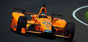 Post de Siga en directo el segundo día de entrenos de Alonso en las 500 Millas