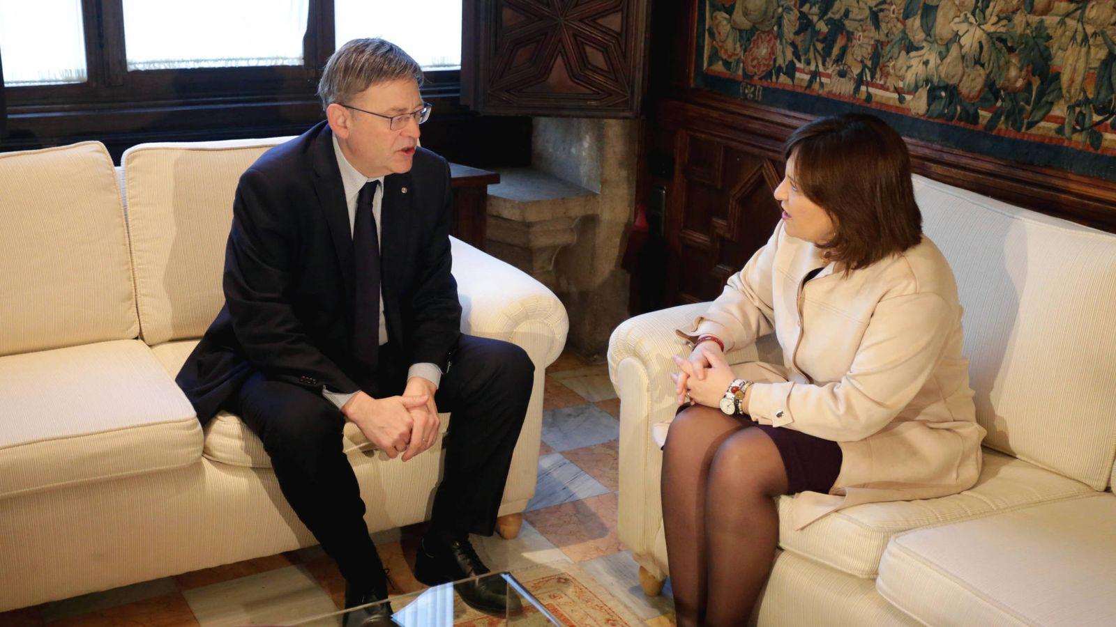 Foto: Ximo Puig e Isabel Bonig, en la reunió preparatoria de la Conferencia de Presidentes. (GVA)