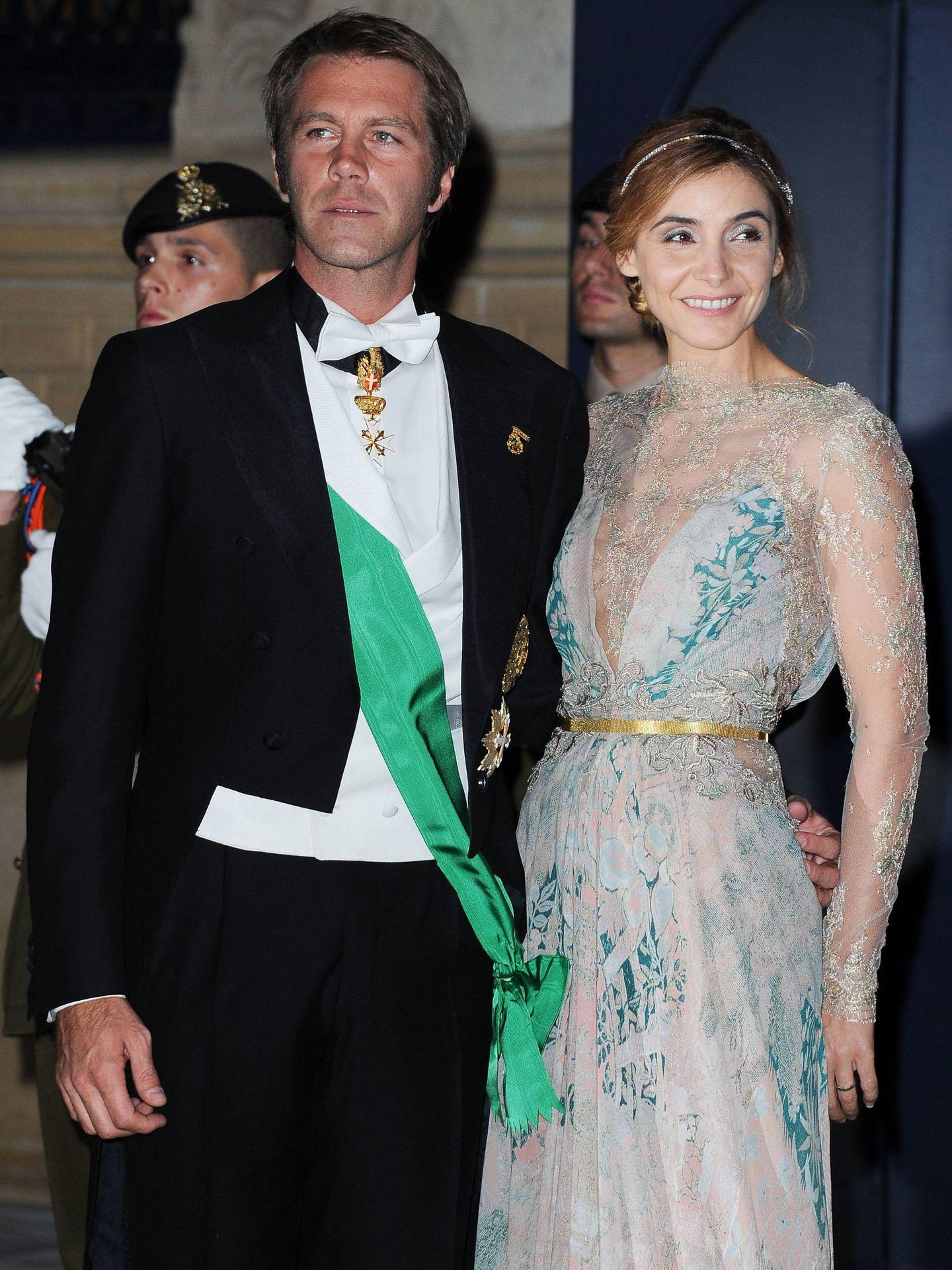 Emanuel Filiberto de Saboya y Clotilde Courau, en la boda de Guillermo de Luxemburgo. (Getty)