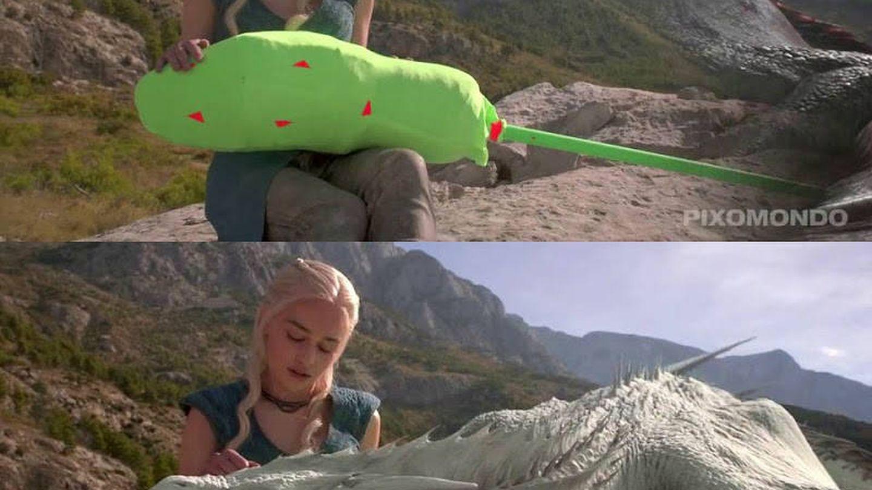 Uso de chroma key (verde) para que la actriz ruede la escena con un doble para sustituir al dragón creado por ordenador en postproducción.
