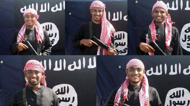 Foto: Cinco de los yihadistas que perpetraron el ataque al restaurante de Dacca (imagen difundida por la agencia yihadista Amaq).