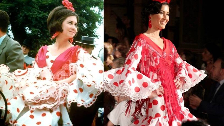 La reina Sofía con un traje de Lina y la réplica actual que ha hecho la marca. (D.R.)