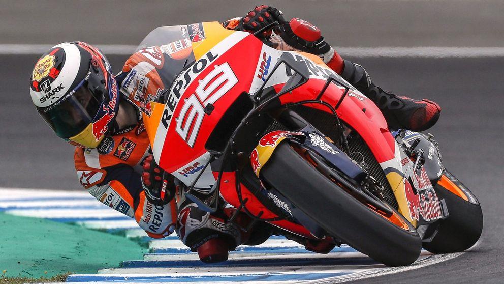 Márquez saldrá tercero en Jerez y Lorenzo, décimo primero tras irse al suelo
