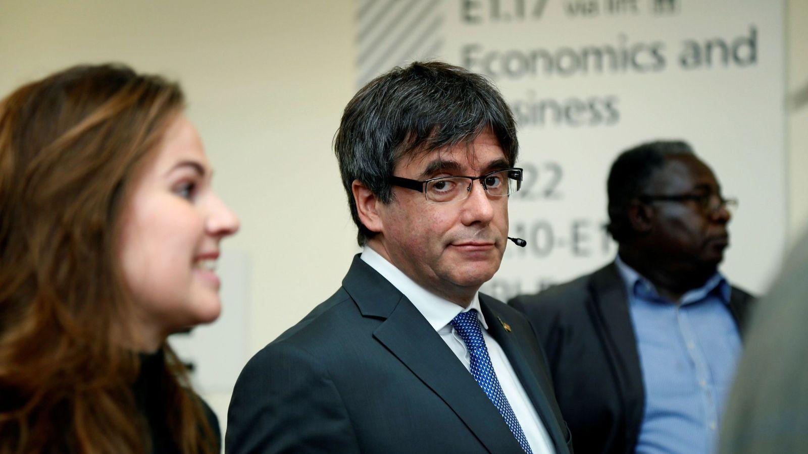 Foto: Puigdemont, en un acto en la Universidad de Ámsterdam. (EFE)