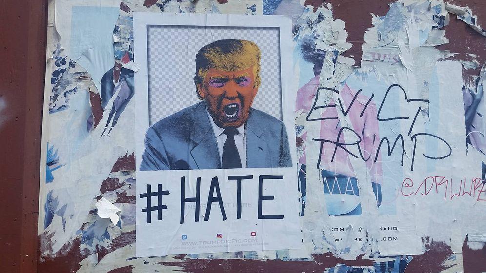 Foto: Un cartel anti-Trump justo antes de las elecciones presidenciales de 2017. (iStock)