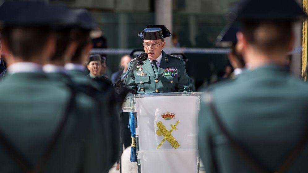 Foto: Diego Pérez de los Cobos, en su toma de posesión como jefe de la Comandancia de la Guardia Civil de Madrid en abril de 2018. (EFE)