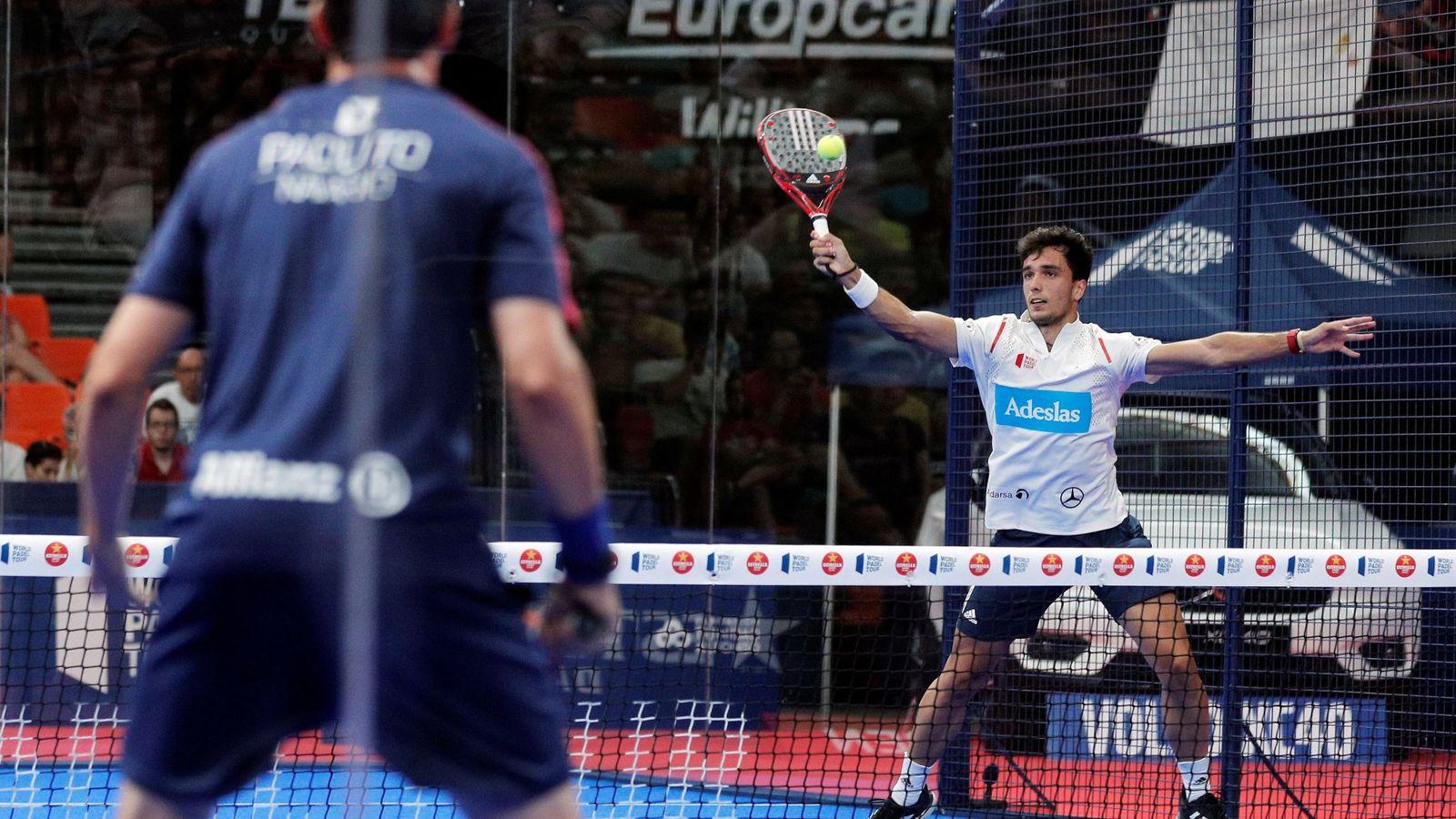 Foto: Imagen del partido de semifinales que enfrentó a Galán y Lima con Navarro y Lebrón. (EFE)