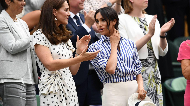 Kate Middleton y Meghan Markle, el año pasado en Wimbledon. (Getty)