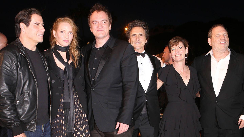 Weinstein junto a Uma Thurman, Tarantino y John Travolta. (Gtres)