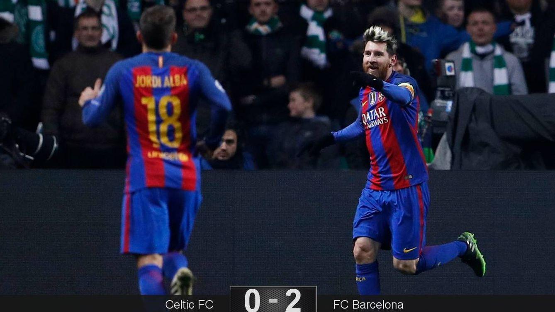 Foto: Messi marcó los dos goles en el Celtic Park (Lee Smith/Reuters)