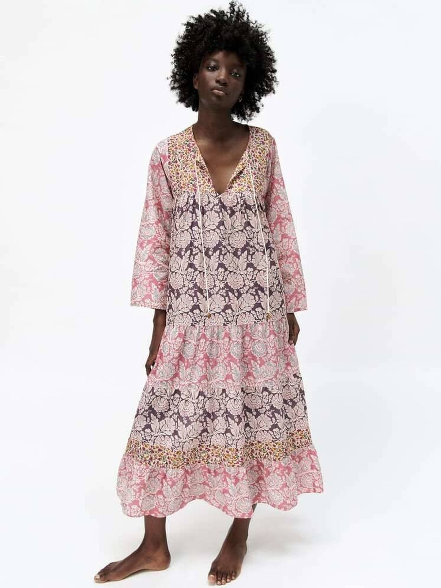 El vestido patchwork de Zara. (Cortesía)