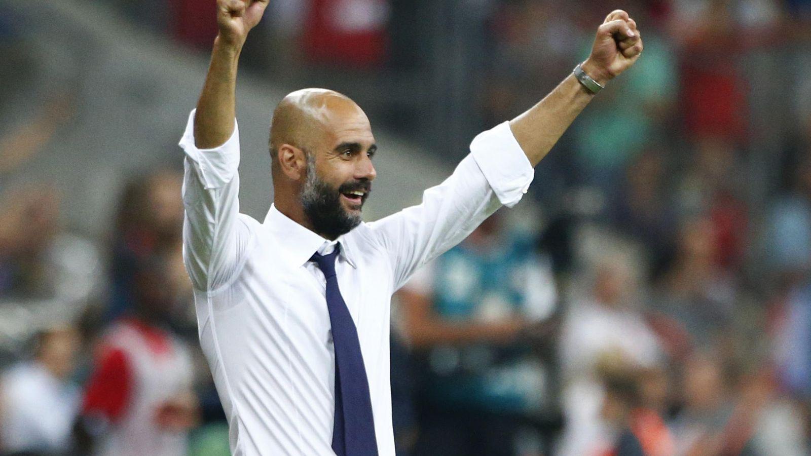 Foto: Pep Guardiola celebra el triunfo frente al Hamburgo (Reuters)