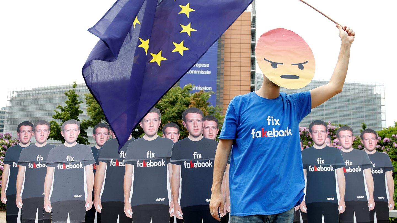 Protesta contra el fundador de Facebook en Bruselas (Reuters)