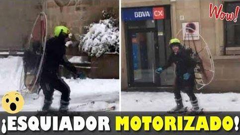 Un esquiador 'a motor': así recorrió un vecino de Lleida las calles de la ciudad durante el temporal