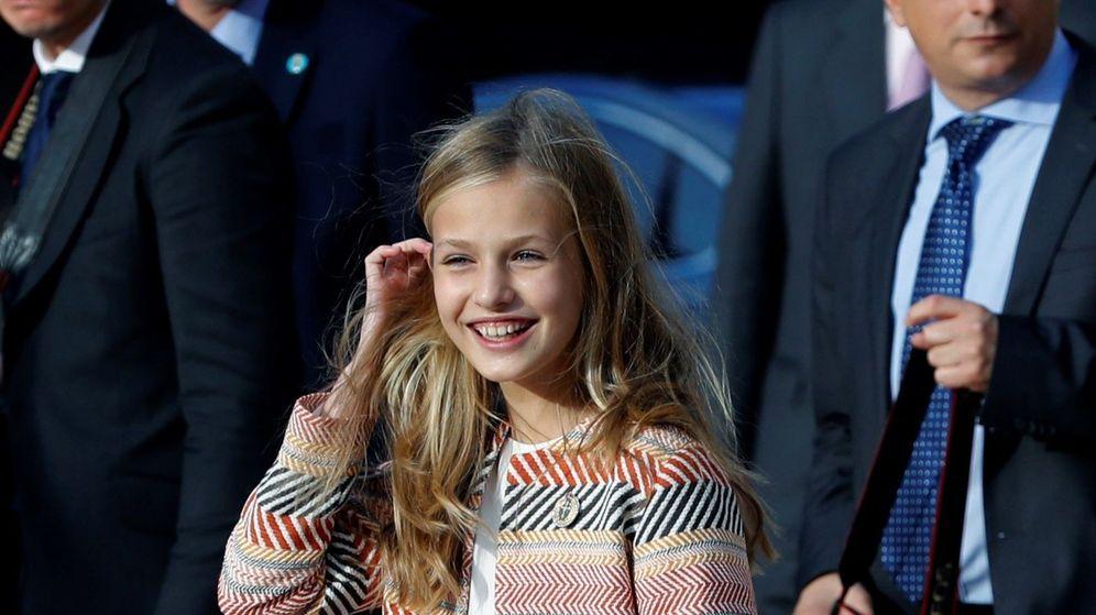 Foto: La princesa Leonor, este jueves, a su llegada a Asturias. (EFE)