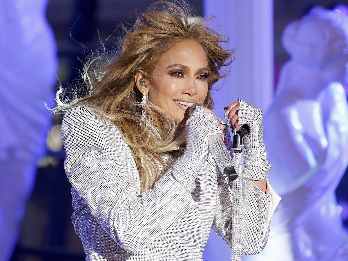 Foto: Jennifer Lopez, en su actuación de Año Nuevo en Times Square. (Getty)