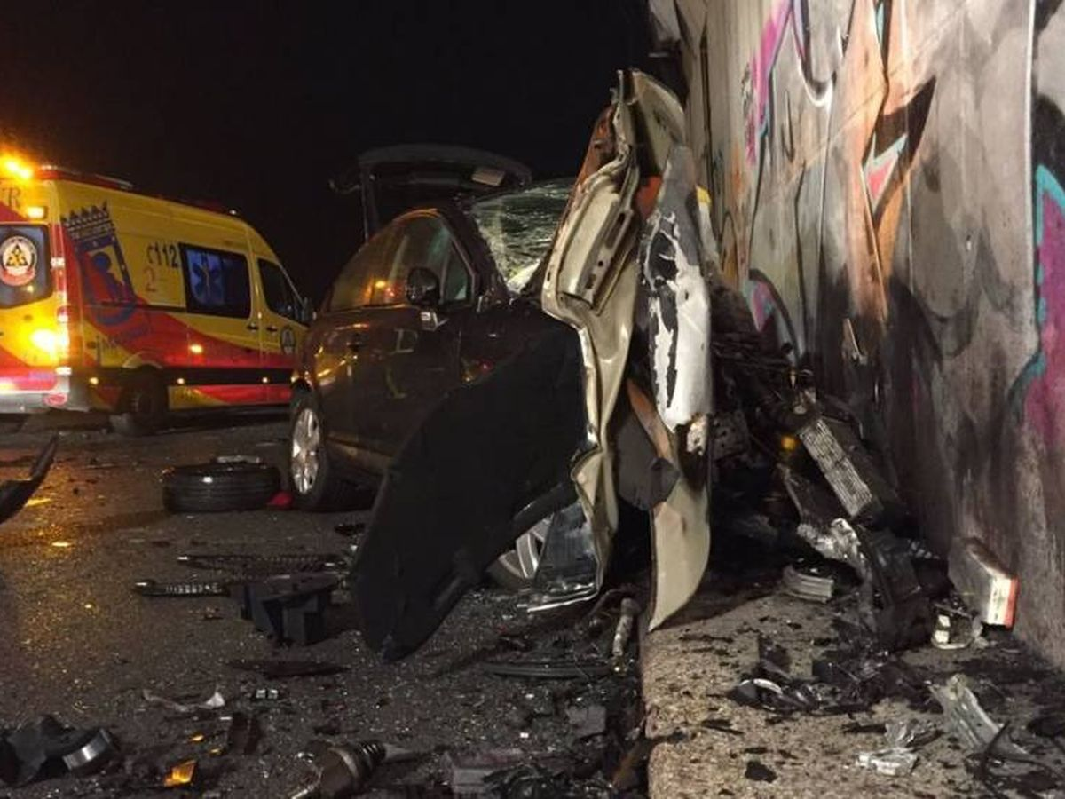 Foto: El accidente que provocó el conductor kamikaze en la M-50. (Emergencias)