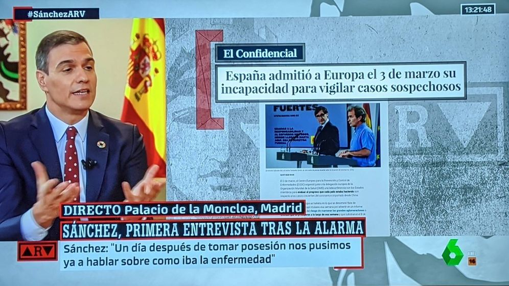 Foto: Pedro Sánchez, durante la retransmisión de la entrevista (La Sexta)
