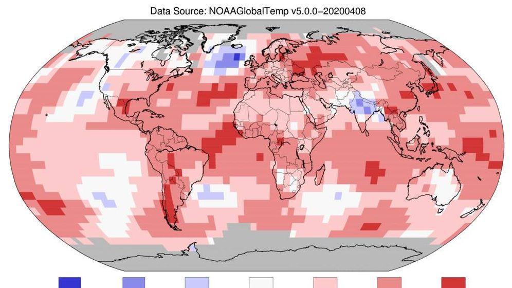 Foto: Mapa de las temperaturas globales en marzo, cuanto más rojo, más cálido. Foto: NOAA