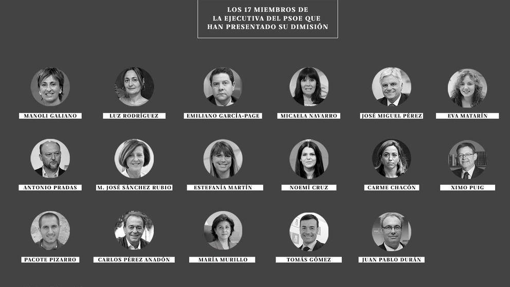 Los críticos registran en Ferraz las 17 dimisiones para tumbar a Sánchez