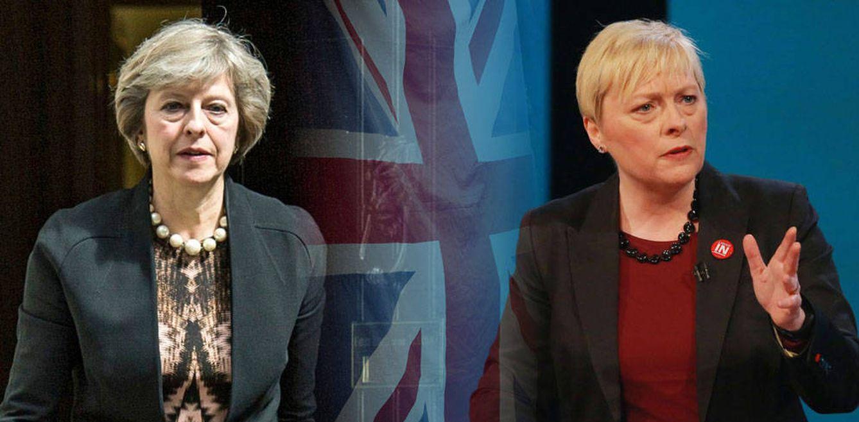 Foto: Theresa May y Angela Eagle en un fotomontaje realizado en Vanitatis