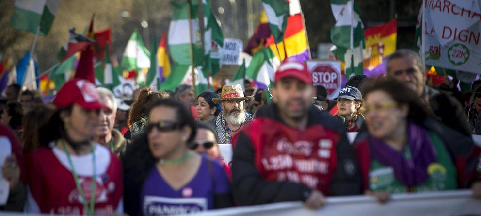 Foto: Sánchez Gordillo, presente en las 'marchas por la dignidad'. (Efe)