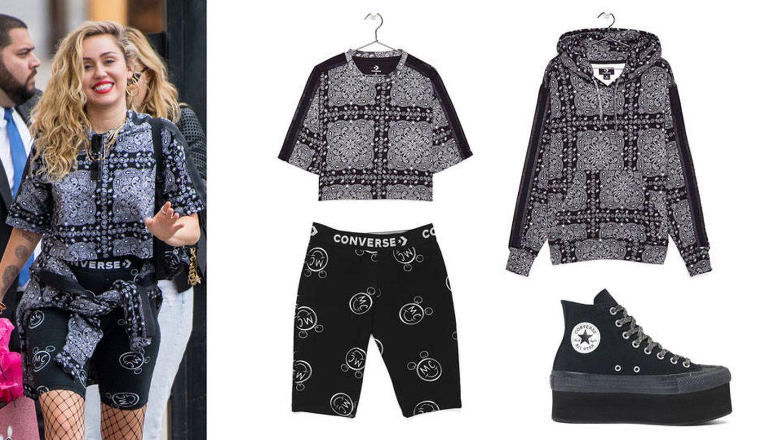Miley con total look negro de Converse. (Gtres/Converse)
