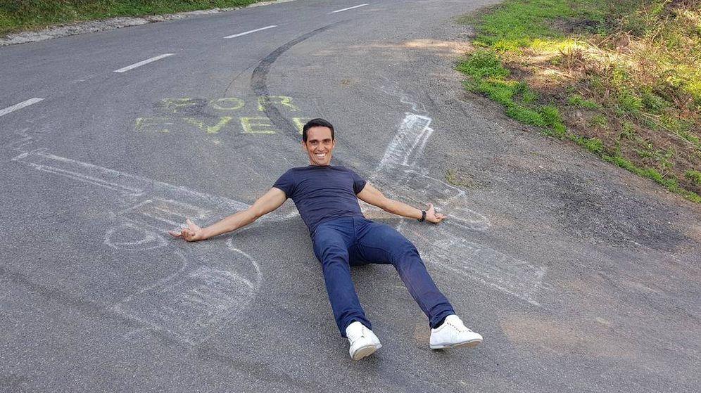 Foto: Alberto Contador en la subida del Angliru. (Foto: Twitter @albertocontador)
