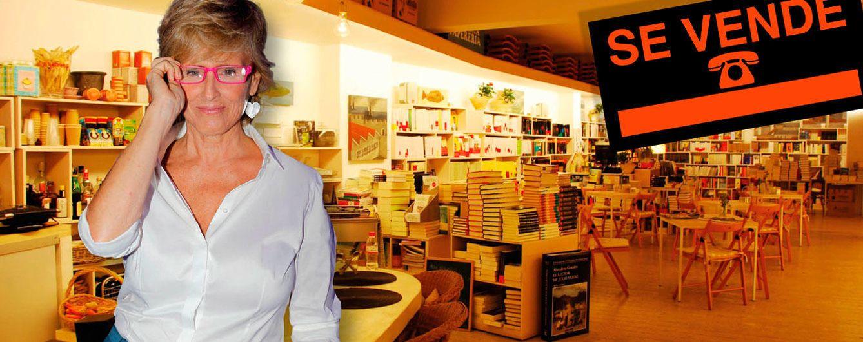 Foto: Mercedes Milá en su librería barcelonesa en un fotomontaje realizado en Vanitatis